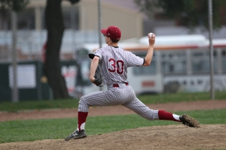Brennan Greedy pitching against the Mission High Bears on April 22, 2017.